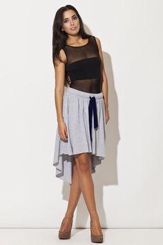 Sportowa spódnica z wydłużonym tyłem szara/ Asymmetric sporty skirt