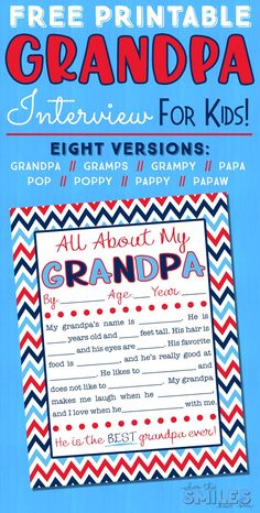 grandpa birthday gifts This All About My Grandpa Interview for Kids is the perfect gift for Fathers Day, Grandparents Day, or even a birthday! Its such a simple, sweet, and senti Diy Father's Day Gifts For Grandpa, Grandpa Birthday Gifts, Grandparents Day Gifts, Birthday Gift For Him, Grandparent Gifts, Birthday Crafts, Gifts For Father, Happy Father, Dad Birthday
