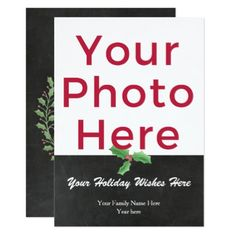 Customized DIY Photo Watercolor Holly Script Card - script gifts template templates diy customize personalize special