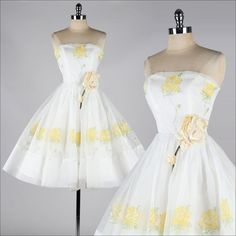 vintage 1950s dress . white chiffon . yellow roses . strapless dress . 3825