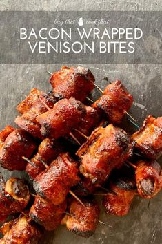 Delicious + meaty, Bacon Wrapped Venison Bites are sure to please at your next gathering. Plus get our easy marinade to make this savory appetizer. via This Cook That Venison Backstrap, Venison Tenderloin, Deer Backstrap Recipes, Deer Tenderloin Recipes, Elk Recipes, Bacon Recipes, Wild Game Recipes, Bacon Appetizers, Appetizer Recipes