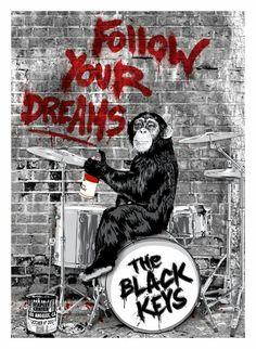 Mr Brainwash The Black Keys Poster from Los Angles again tonight Mr Brainwash, Tour Posters, Band Posters, Music Posters, The Black Keys, Banksy, Graffiti, David Zinn, Amazing Street Art
