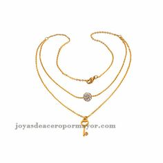 fashion 18k gold tow layer with matching earring for ladies-SSNEG48677