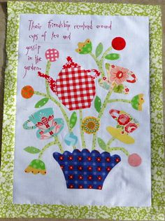 Block B of Gossip in the Garden...a very British quilt