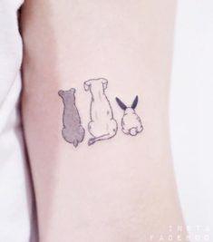 Cute Dogs & Rabbit Tattoo