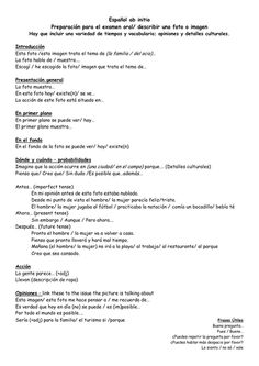 IB Spanish ab initio Oral Exam - Presentation - help sheet