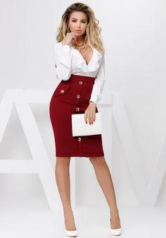 Fusta trei sferturi grena cu talie inalta este o fusta eleganta, cu nasturi, perfecta pentru tinute office. Waist Skirt, High Waisted Skirt, Skirts, Secretary, Style, Women, Fashion, Swag, Moda