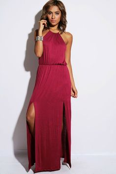 #1015store.com #fashion #style burgundy red high neck cut out back double slit party maxi dress-$20.00