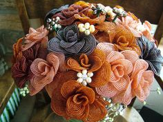 Wedding Bouquet French beaded Flowers by RetroVintageWeddings, $550.00