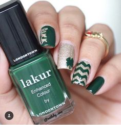 St. Patrick's Day mani from @nailsby_ana using our Four Leaf Clover Nail Decals and Chevron Nail Vinyls Found at: snailvinyls.com