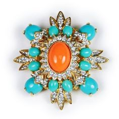 Amazon.com: Kenneth Jay Lane Coral and Turquoise Brooch: Kenneth Jay Lane: Jewelry