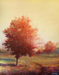 Enjoy looking at the tranquility of 'Three Red Trees' by artist Andrew King...