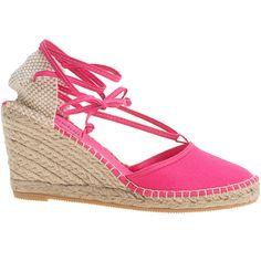 ESPADRIJ Pyrenées Fuchsia // Wedge espadrilles ($63) ❤ liked on Polyvore featuring shoes, sandals, embellished sandals, espadrille wedge sandals, espadrille sandals, wedge espadrilles and braided sandals