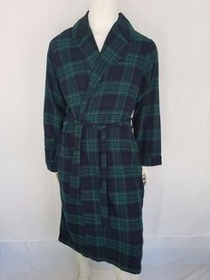 Details about LANDS END Blue   Green Paid Flannel 100% Cotton Robe Mens LG  42-44 - Barely worn cb158c154