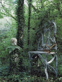 How gorgeous! A sanctuary in the woods! - I had this in my garden album, then realizing the beauty of the Goddess Head and Antlers on the chair, felt it belonged in Honoring the God & Goddess as well! Gothic Garden, Forest Fairy, Dream Garden, Garden Planning, Yard Art, Garden Inspiration, Beautiful Gardens, Exterior, Nature