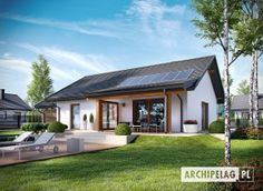Projekt domu Kornel VI (z wiatą) energo - koszt budowy 165 tys. Bungalow House Design, Small House Design, Small Modern Home, Modern Family, Weekend House, Modern Architecture House, Facade Design, Small House Plans, Cottage Homes
