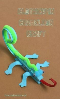 45 Cute Fun Clothespin Crafts For Kids - This Tiny Blue House - DIY Bastelidee für Kinder mit Holzklammern: Buntes Chamäleon You are in the right place about diy - Animal Crafts For Kids, Crafts For Kids To Make, Projects For Kids, Kids Diy, Arts And Crafts For Children, Camping Crafts For Kids, Spring Crafts For Kids, Craft Projects, Craft Activities