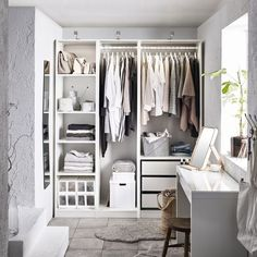 Discover the IKEA PAX wardrobe series. Design your own PAX wardrobe inside and out, from door styles, to shelves, to interior organizers and more. Ikea Pax Wardrobe, Diy Wardrobe, Wardrobe Ideas, Ikea Pax Closet, White Wardrobe Closet, Ikea Wardrobe Storage, Small Walk In Wardrobe, Ikea Closet System, Closet Bedroom