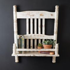 [Description] Bring your farmhouse decor to a new level with this distressed chair shelf. You will be able to display plants, books, and other small items on its ledge. The resemblance to a chair makes this shelf very unique. This item comes fully assembled. [specification] 22''W x 9''D x 28''H [Quick View] 22''W x 9''D x 28''H Painted Wooden Chairs, Old Wooden Chairs, Old Chairs, Farmhouse Chairs, Farmhouse Decor, Distressed Chair, Upcycled Home Decor, Repurposed Items, Antique Booth Ideas
