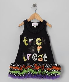 Take a look at this The Princess and the Prince Black 'Trick or Treat' Ruffle Dress - Infant, Toddler & Girls on zulily today!