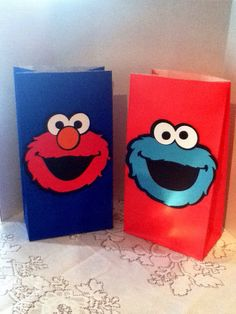 Cute Elmo and Cookie Monster Party Bags by Onecraftyhippo on Etsy, $1.00