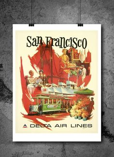 San Francisco Delta Air Lines Travel Poster Print 8x10 Print. San Francisco Delta Air Lines Travel Poster Print 8x10 Print - HIGH QUALITY PRINTS - Focusing on making quality prints for the Home & Office. Introducing Our : Vintage Travel Collection -This 8x10 print is Ready-To-Frame and will fit perfectly in any Frame with Mat when delivered. BEAUTIFUL WALL ART: Our posters provide daily inspiration, beauty, tranquility and are the perfect choice for the office, dorm room, classroom or…