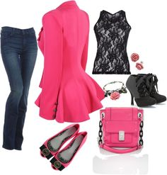 """pink and black"" by dlrushfamily on Polyvore"