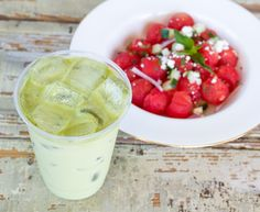 Watermelon salad & matcha tea latte, summer 2016 🌿