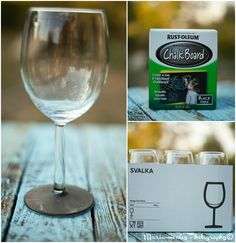 Food & Wine Bridal Shower, Chalk board wine glasses. #bridalshower Mariahealey.com http://www.dandpcelebrations.com