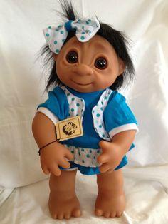 DAM Things Denmark LARGE 16 in. Blue Summer Dress Girl Troll, NEW! with a BONUS! #DAM