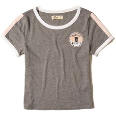 Hollister Graphic Baby Tee ($9.99) ❤ liked on Polyvore featuring tops, t-shirts, grey, graphic tees, graphic design tees, grey graphic tee, grey crew neck t shirt and gray tees