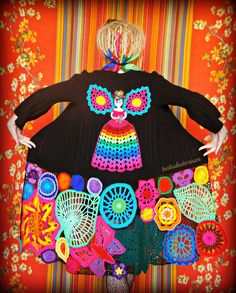 Fairy Princess In The Enchanted Forest - Irish Lace Upcycled Rainbow Hippie Crochet Sweater Coat - RESERVED. $330.00, via Etsy.