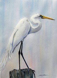paintings  of egrets  | Great White Egret 2 web.jpg (95702 bytes)