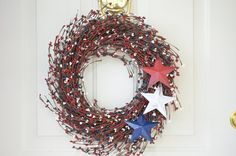 Red White and Blue Berry wreath  Fourth of July by laurelsbylaurie, $55.00