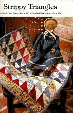 Strippy triangles - from the book American Doll Quilts by Kathleen Tracy http://www.countrylanequilts.com/index.html