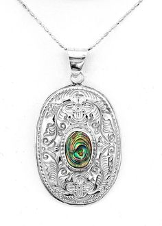 Elegant Sterling Silver Mandala Abalone Floral Carving Pendant Taxco Mexico