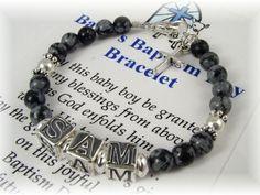 Personalized BABY Boy NAME Bracelet Baptism Christening New Baby Shower Gift Snowflake Obsidian Black