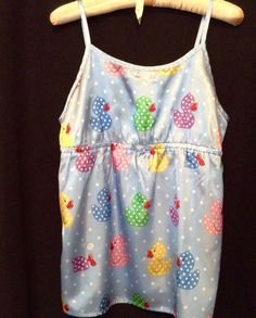 Nick & Nora BabyDoll  Pajama Top Silky Blue Size XL 14 16 Multi Color Ducks Dots #NickNora #BabydollPajamaTop Nick And Nora, Pajama Top, Ducks, Pajamas, Blue, Color, Tops, Women, Fashion