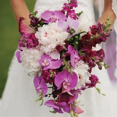 Gallery: purple wedding bouquet idea Via Black Swan Country Club - Deer Pearl Flowers Orchid Bouquet Wedding, Bride Bouquets, Wedding Flowers, Purple Bouquets, Bridesmaid Bouquets, Flower Bouquets, Wedding Lavender, Bridesmaids, Purple Wedding Centerpieces