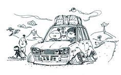 "car illustration original cartoon ""mame mame rock""... - ozizo in tokyo"