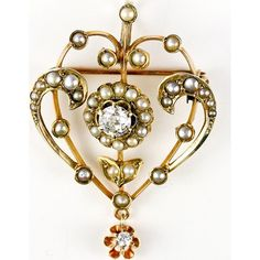 Antique Edwardian Diamond Seed Pearl Lavalier, Brooch - 9K gold, English antique .4 carat diamond - 209dmdprlbrch