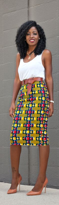 afrikanischer druck Tank Top + Ankara Print Pencil Skirt / Fashion By Style Pantry Tank Top + Ankara Print Pencil Skirt / Fashion By Style Pantry African Inspired Fashion, African Print Fashion, Africa Fashion, Fashion Prints, African Attire, African Wear, African Women, African Style, African Print Dresses