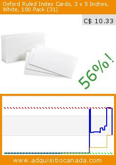 Oxford Ruled Index Cards, 3 x 5 Inches, White, 100 Pack (31) (Office Product). Drop 56%! Current price C$ 10.33, the previous price was C$ 23.63. http://www.adquisitiocanada.com/esselte-canada/oxford-ruled-index-card-3