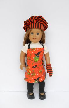 Halloween Apron Set for 18 Inch Dolls Orange and by DonnaDesigned, $22.00