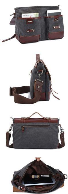 Image of Canvas Leather Bag Travel Bag Single Shoulder Bag Laptop Bag Diaper Bag Messenger Bag L125