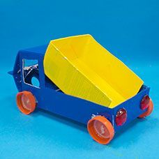 Make a dump truck with moving wheels and recycled materials!