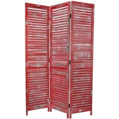 5½ ft. Tall Fixed Venetian Decorative Folding Screen. Distressed fire engine red.