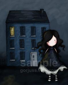 The Blue House - 8 x 10 Giclee Fine Art Print - Gorjuss Art. $18.00, via Etsy.