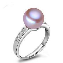 Venta al por mayor perla anillo de plata esterlina genuina 925 de agua dulce perlas anillos ajustable de moda novia de la boda de la joyería de circón(China (Mainland))