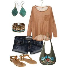 turquise and peach casual, created by irisaller.polyvore.com